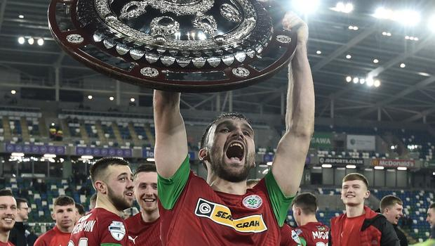 PACEMAKER BELFAST 21/01/2020 Cliftonville v Ballymena County Antrim Shield Final Cliftonville's  Jamie Harney    celebrates winning the Co Antrim Shield Final this evening at Windsor Park in Belfast. Photo Colm Lenaghan/Pacemaker Press