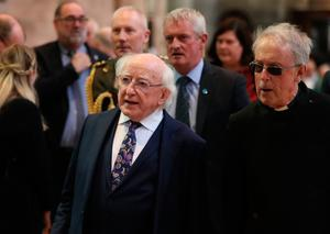 President Michael D Higgins before the funeral service for murdered journalist Lyra McKee at St Anne's Cathedral in Belfast. PRESS ASSOCIATION Photo. Picture date: Wednesday April 24, 2019. Miss McKee, 29, died as a result of injuries sustained when she was shot on the Creggan estate on April 18. See PA story FUNERAL McKee. Photo credit should read: Brian Lawless/PA Wire