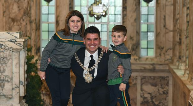 New Lord Mayor of Belfast Daniel Baker with his children Mia and Sean. Photo Colm Lenaghan/ Pacemaker Press