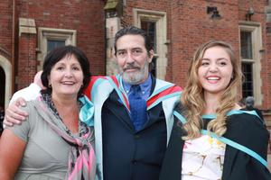 Catherine Wegwermer (L) cousin of Actor Ciaran Hinds and her daughter Ruth Claire (R)  (who graduated in Geography First Class) are reuinted after Ciaran was honoured at Queen's University Belfast. Photo/Paul McErlane