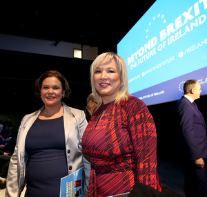 Mary Lou McDonald TD and Michelle O'Neill at the Beyond Brexit conference in Belfast