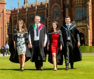 Three siblings and their dad graduate together this summer from Queen's University; Shannon Clements, Holly Clements, Pierce Clements and their father Michael Clements are graduating with a Bachelor Degree in Dental Surgery from the School of Medicine, Dentistry and Biomedical Sciences; Bachelor Degree in Primary Education from Stranmillis University; Bachelor of Science Degree in Mathematics with Finance from the School of Maths and Physics and a Master of Science in Clinical Education from the School of Medicine, Dentistry and Biomedical Sciences respectively.