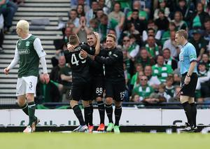 GLASGOW, SCOTLAND - MAY 26: Gary Hooper (C) of Celtic celebrates after he scores the second goal during the William Hill Scottish Cup Final match between Celtic and Hibernian at Hampden Stadium on May 26, 2013 in Glasgow, Scotland. (Photo by Ian MacNicol/Getty Images)