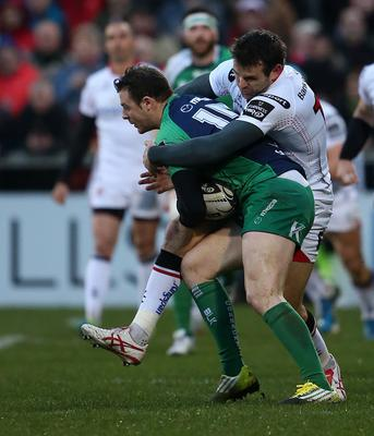 Ulster  Jared Payne   and Connacht  Robbie Henshaw    during Friday night's Guinness PRO 12 match at the Kingspan Stadium, Ravenhill Park. Picture by Brian Little/Presseye