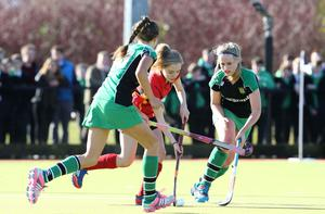 ?Press Eye Ltd - Northern Ireland - 4th March 2015. Mandatory Credit - Photo by Andrew Paton/Presseye.com. The Belfast Telegraph Senior Schools Cup Final - Sullivan Upper v Banbridge at Lisnagarvey Hockey Club. Emma Gregson of Banbridge get passed the Sullivan defence