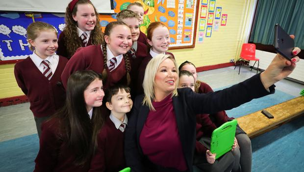 The deputy First Minister Michelle O'Neill joined pupils at Holy Trinity Primary School in Belfast for Safer Internet Day. Photo by Kelvin Boyes / Press Eye.