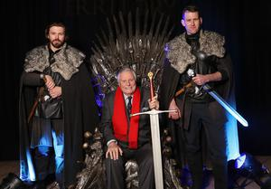 Press Eye - Belfast -  Northern Ireland - 31st January 2019 - Photo by William Cherry/Presseye  Guests had the opportunity to take a seat on the Iron Throne from Game of Thrones¨ as Tourism NI marked the start of the official build up to The 148th Open at Royal Portrush with a celebration of Northern Irish talent from sport, music, arts and screen at Titanic Belfast. Pictured is Peter Alliss. Visit https://youtu.be/KPPKRrsR-js to watch the cinematic film ÔWeÕve come a long wayÕ which was premiered on the night.  Photo by William Cherry / Press Eye.