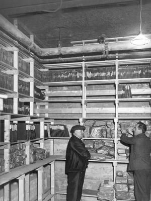 The interior of Belfast City Hall. The vault and storeroom at City Hall.  5/1/1934  BELFAST TELEGRAPH ARCHIVE