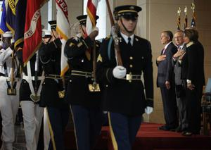 WASHINGTON, DC - SEPTEMBER 10:  (L-R) U.S. Speaker of the House Rep. John Boehner (R-OH), Senate Majority Leader Sen. Harry Reid (D-NV), House Minority Leader Rep. Nancy Pelosi (D-CA) look on as the color guards retire during a Congressional Gold Medal presentation ceremony at the Emancipation Hall of the U.S. Capitol Visitors Center September 10, 2014 on Capitol Hill in Washington, DC. The Congressional Gold Medal was awarded in honor to the men and women who were killed during the September 11th attacks for their heroic sacrifices.  One of the three medals will be provided to the Flight 93 National Memorial in Pennsylvania, the second will go to the National September 11 Memorial and Museum in New York, and the third one will be directed to the Pentagon Memorial at the Pentagon.  (Photo by Alex Wong/Getty Images)