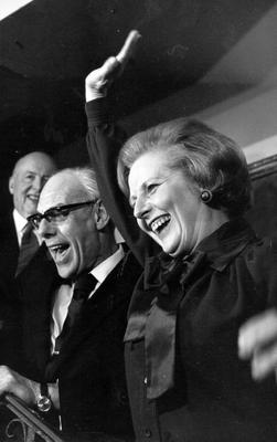 LONDON, UNITED KINGDOM - MAY 04, 1979:  (FILE PHOTO)  Baroness Margaret Thatcher, 85, Britain's Prime Minister from 1979 to 1990, Reports on April 8, 2013 state that Baroness Thatcher has died following a stroke..  Margaret Hilda Thatcher, nee Roberts (b 1925), with her husband Denis Thatcher (1915 - 2003), waves to the crowds outside the Conservative Party headquarters on May 4, 1979 in London, England.   (Photo by John Minihan/Getty Images)
