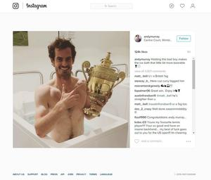 Screen grab taken from the Instagram account of Andy Murray which features a photo of him holding the Wimbledon trophy whilst having an ice bath after beating Milos Raonic in three sets. PRESS ASSOCIATION Photo. Issue date: Monday July 11, 2016. Andy Murray vowed to enjoy his second Wimbledon triumph after being crowned the king of Centre Court once again. See PA story WIMBLEDON Men. Photo credit should read: andymurray/Instagram/Press Association Images NOTE TO EDITORS: This handout photo may only be used in for editorial reporting purposes for the contemporaneous illustration of events, things or the people in the image or facts mentioned in the caption. Reuse of the picture may require further permission from the copyright holder.