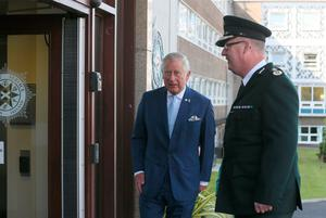 Police Service of Northern Ireland Chief Constable George Hamilton  greets the Prince of Wales as he arrives to view the PSNI HQ in Belfast, as part of his visit to Northern Ireland. Brian Lawless/PA Wire
