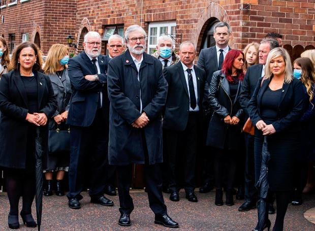 Political impact: Sinn Fein's Mary Lou McDonald, Gerry Adams, and Deputy First Minister Michelle O'Neill attending the funeral of Bobby Storey