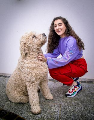 The Voice contestant Brooke Scullion at home in Bellaghy with her dog Cody (Photo by Kevin Scott for Belfast Telegraph)