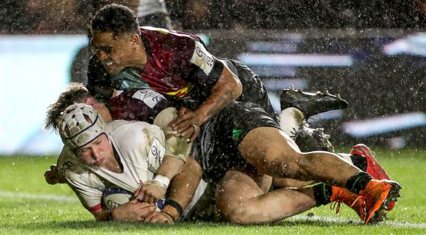 Ulster's Luke Marshall touches down for his try ahead of Francis Saili of Harlequins