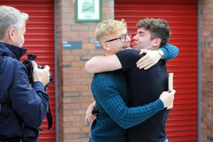 Thomas McIntosh and Andrew Denver (Croc) celebrate after getting their A-Level results at Banbridge Academy grammar school in Banbridge, Thursday, August 15, 2019. (Photo by Paul McErlane for the Belfast Telegraph)