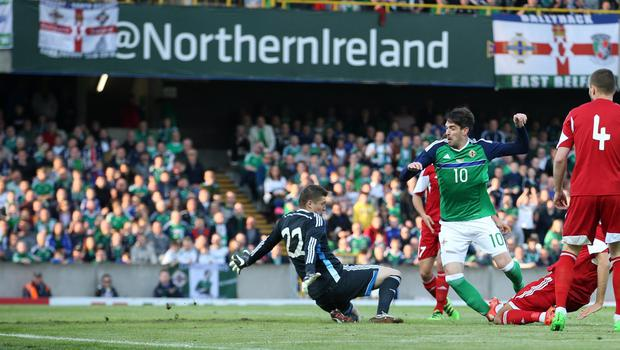 @Press Eye Ltd Northern Ireland- 27th May 2016 Mandatory Credit -Brian Little/Presseye  Northern Ireland  Kyle Lafferty scores a goal past  Belarus  goal keeper Andrei Harbunov    during Friday night's Vauxhall Friendly International match  at the National Football Stadium at Windsor Park. Picture by Brian Little/Presseye