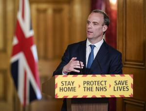 Foreign Secretary Dominic Raab has given upbeat comments on Britain's coronavirus outbreak, saying there is light at the end of the tunnel (10 Downing Street handout/PA)