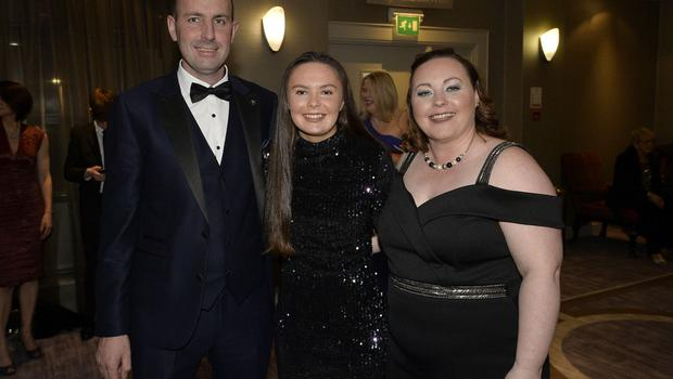 Press Eye - Belfast - Northern Ireland - 20th January  2020  Conall ,Beth and Claire Coulter pictured at the 2019 Belfast Telegraph Sport Awards at the Crowne Plaza Hotel in Belfast. Photo by Stephen Hamilton / Press Eye.