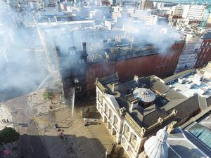 Photo by Gregory Weeks. Aerial view over Bank Buildings following Tuesdays fire..