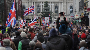 Hundreds of loyalist protesters gather at Belfast City Hall on the anniversary of a council decision to limit the flying of the Union flag. Photo Charles McQuillan/Pacemaker Press