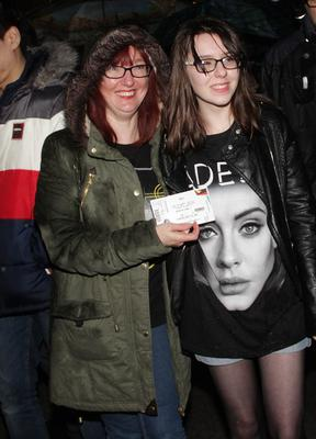 29-02-2016  Adele fans at the SSE Arena Belfast for the Brit Awards winner first night of her new tour.  Picture Colm O'Reilly /Presseye