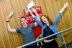 PACEMAKER BELFAST   13/08/15  Students from Lagan College Belfast receive their results today.  With an impressive number of A* & As. Pictured David Beattie who got A*, A*, A & Aimee Nelson A*, A, A Photo: Pacemaker Press