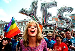 Drag queen and gay rights activist Rory O'Neill, known by his stage name as Panti Bliss arrives at the Central Count Centre in Dublin Castle, Dublin, as votes continue to be counted in the referendum on same-sex marriage. PRESS ASSOCIATION Photo. Picture date: Saturday May 23, 2015. Ireland is set to enshrine the right to gay marriage in a historic world first. Key campaign groups fighting the rights reform conceded defeat, with results from around the country indicating a two to one majority of voters backing the constitutional change. See PA story IRISH GayMarriage. Photo credit should read: Brian Lawless/PA Wire