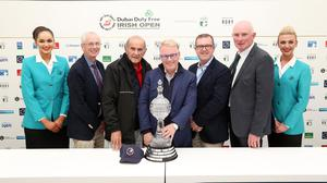 9 July 2017 - Picture by Darren Kidd /Press Eye.     Dubai Duty Free Irish Open Hosted by the Rory Foundation at Portstewart Golf Club, Northern Ireland.  Ballyliffin Golf Club to host the 2018 Dubai Duty Free Irish Open.   Pictured at the announcement of the Dubai Duty Free Irish Open 2018 Hosted by the Rory Foundation are John Tracey - Chief Executive of Sport Ireland, Colm McLoughlin - Executive Vice Chairman and CEO of  Dubai Duty Free, Keith Pelley - Chief Executive of the European Tour, Barry Funston - Chief Executive of the Rory Foundation and John Ferran - General Manager Ballyliffin Golf Club.