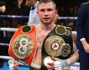 Carl Frampton will be honoured by Belfast City Council as the City Hall is illuminated in green and white on Sunday evening.