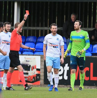 Ballymena's William Faulkner is sent off during today's game at Stangmore Park, Dungannon.  Photo by David Maginnis/Pacemaker Press