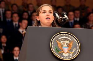 BELFAST, UNITED KINGDOM - JUNE 17:  Hannah Nelson, 16, speaks ahead of a keynote address delivered by U.S. President Barack Obama at the Waterfront Hall ahead of the G8 Summit on June 17, 2013 in Belfast, Northern Ireland. Later The President will join other leaders at the G8 Summit in Fermanagh.  (Photo by Paul Faith - WPA Pool/Getty Images)