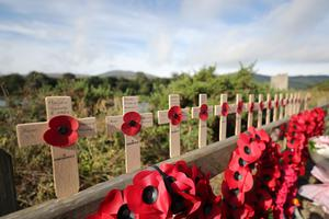 Commemorative crosses placed at Narrow Water close to Warrenpoint (Niall Carson/PA)