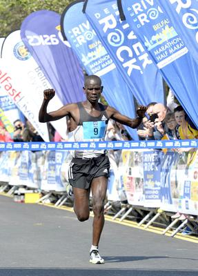 Press Eye - Belfast - Northern Ireland 1st May 2017 - Picture by Stephen Hamilton / Press Eye.  2017 Deep RiverRock Belfast City Marathon, Northern Ireland. Winner Bernard Riotoch pictured at the finish line at Ormeau park.
