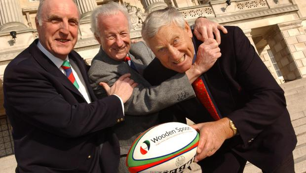 "A fun moment in January 2006 at Parliament Buildings, when Rugby Legends Jack Kyle and Willie John McBride ,joined Allen Gibson, then the Chairman of the UK and Ulster Rugby Charity ""Wooden Spoon"". The occasion was Jack's 80th Birthday lunch in the members dining room, Stormont with Irish rugby VIP's. Picture Stanley Matchett."