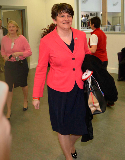 A smiling DUP leader Arlene Foster leaves the count in Omagh