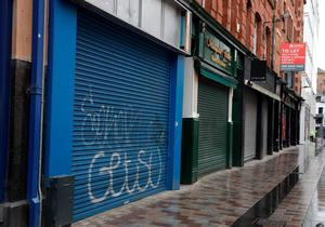 No trade: Small retailers have pulled down the shutters, but many of the items they stock are being sold by larger chain stores