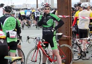 Keeping in touch during the Gran Fondo. Pic: Freddie Parkinson/Press Eye.