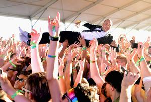 INDIO, CA - APRIL 13:  DJ/producer Walshy Fire of Major Lazer performs onstage during day 2 of the 2013 Coachella Valley Music & Arts Festival at the Empire Polo Club on April 13, 2013 in Indio, California.  (Photo by Jason Kempin/Getty Images for Coachella)
