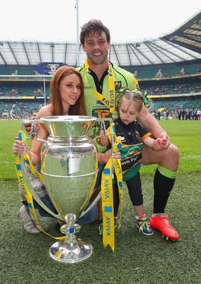 Una with daughter Aoife after Ben had helped Northampton win the Aviva Premiership final in 2014