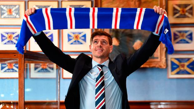 Steven Gerrard at Ibrox yesterday