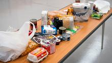 Stock image showing the contents of a typical food package. Volunteers are co-ordinating pharmacy pick-ups and deliver food and other supplies during the crisis. Aaron Chown/PA Wire