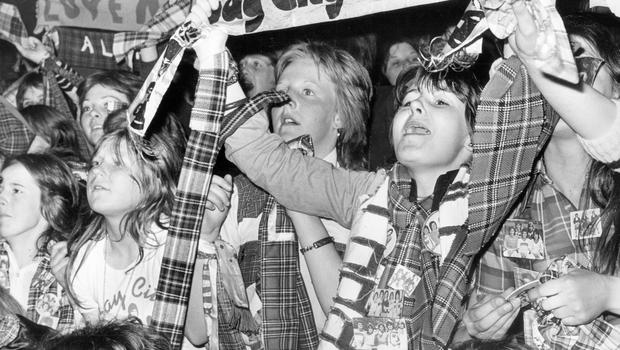The hysterical crowd of teenagers which greeted the Bay City Rollers when they performed in Belfast's New Vic Cinema  25/4/1975