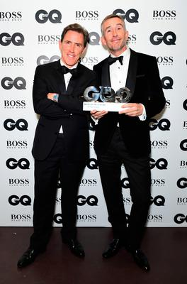 Rob Brydon (left) and Steve Coogan with their Best Comedians award during the GQ Men of the Year Awards 2017 held at the Tate Modern, London. PRESS ASSOCIATION Photo. Picture date: Tueday September 5th, 2017. Photo credit should read: Ian West/PA Wire
