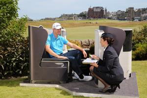 ST ANDREWS, UNITED KINGDOM - JULY 09:  US Open Champion Justin Rose enjoys the comforts of his sponsor's British Airways First Class seat in St Andrews, Scotland during a layover before practising at Muirfield ahead of The Open Championship this week on July 09, 2013 in St. Andrews, Scotland.  (Photo by Ian Walton/Getty Images for British Airways)