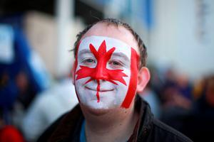 A Canadian supporter shows their support ahead of the World Cup match at Leicester City Stadium, Leicester. PRESS ASSOCIATION Photo. Picture date: Tuesday October 6, 2015. See PA story RUGBYU Canada. Photo credit should read: David Davies/PA Wire. RESTRICTIONS: Editorial use only. Strictly no commercial use or association without RWCL permission. Still image use only. Use implies acceptance of Section 6 of RWC 2015 T&Cs at: http://bit.ly/1MPElTL Call +44 (0)1158 447447 for further info.