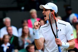 Come on: Andy Murray shows his traditional clenched fist salute after demolishing Nick Kyrgios to reach the Wimbledon quarter-finals
