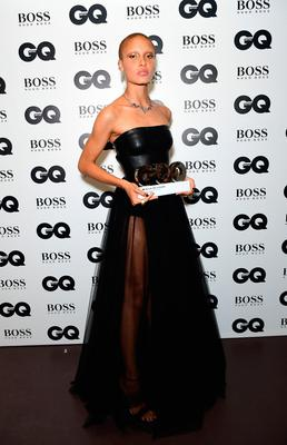 Adwoa Aboah with her HUGO BOSS Woman of the Year award during the GQ Men of the Year Awards 2017 held at the Tate Modern, London. PRESS ASSOCIATION Photo. Picture date: Tueday September 5th, 2017. Photo credit should read: Ian West/PA Wire
