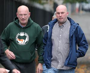 Belfast - Northern Ireland 22nd August 2017 Repbublican Dee Fennell(right), and other members of Ardoyne residents group GARC, pictured entering Belfast Laganside Courts for judgement on a contest regarding charge of holding an unnotified procession.