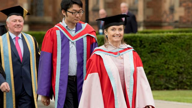 Irish-American Philanthropist, Loretta Brennan Glucksman CBE, today received her honorary degree for services to business and commerce from Queen's University Belfast.